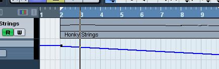 Cubase, скриншот программы: линия убывания звука