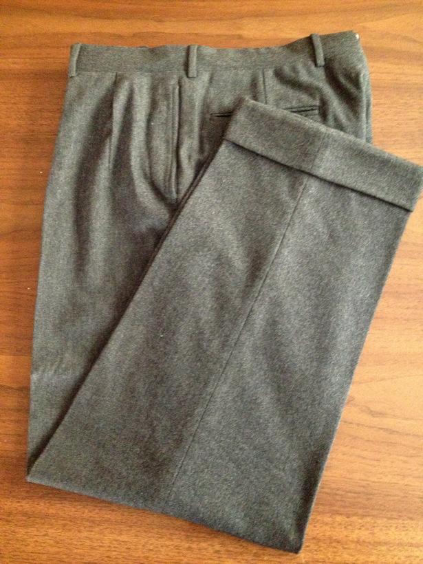 Угольно-серые фланелевые мужские слаксы