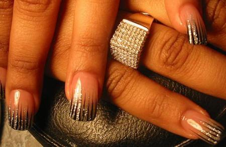 рисунки на ногтях иголкой полосы  маникюр в домашних условиях
