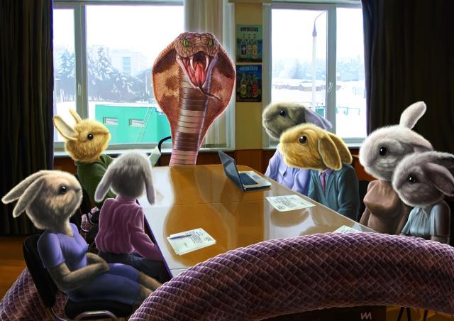 самодур в офисе наальник босс шеф подчиненные кобра удав кроликов