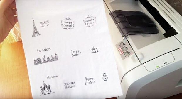 Как расписать пасхальные яйца в технике декупажа при помощи принтера
