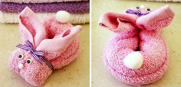 Как сложить пасхального кролика из тканевой салфетки для подарка