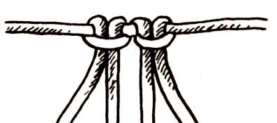 К верхней трети круга крепим веревки самым простым узлом макраме