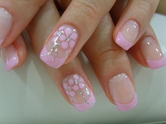 рисунки на ногтях иголкой цветы блестки узоры посеребрение  маникюр в домашних условиях