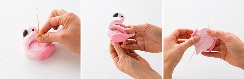 Как сделать елочные игрушки из глины в виде фламинго?