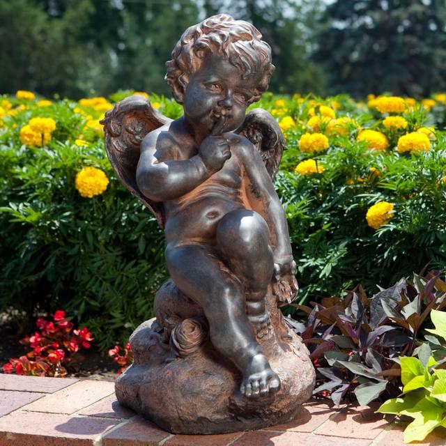 ландшафтный дизайн бронзовая статуя ангелочка для сада