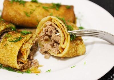 Как приготовить блинчики с мясом (несколько рецептов)