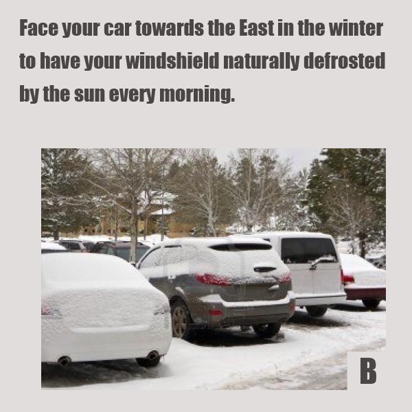 Как автомобилисту облегчить себе жизнь: 10+ лайфхаков - Зимой старайтесь ставить автомобиль капотом на восток, чтобы лобовое стекло солнечными днями естественным образом размораживалось