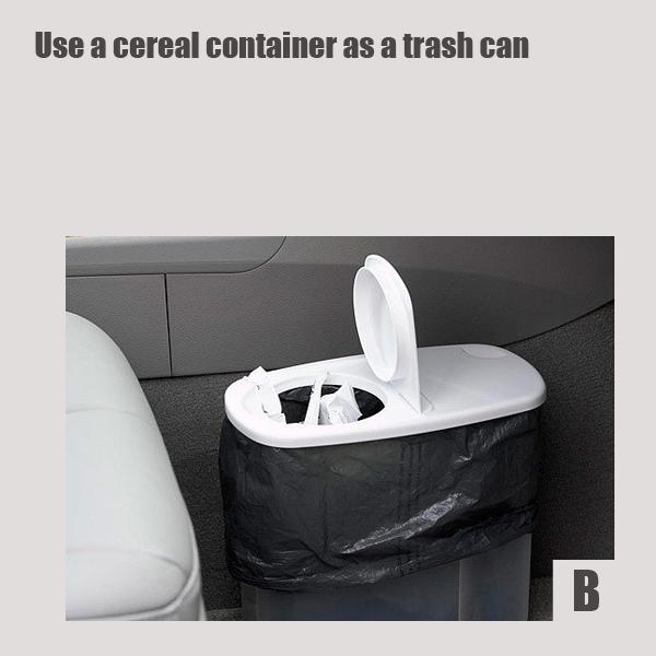 Крайне удобно использовать коммерческий контейнер для круп/муки/сухого корма в качестве мусорного контейнера в автомобиле