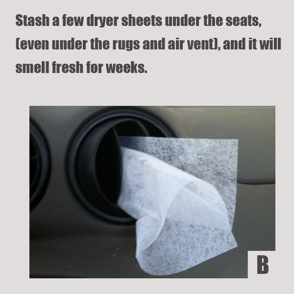 Затолкайте несколько специальных ароматических салфеток (с антистатиком или кондиционером) для сушки постиранного в сушильной машине под сидения, в сухую погоду под резиновые коврики или даже в выходную решетку