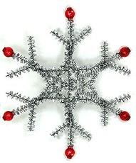 Снежинка из проволоки, оплетенной коротковорсовой новогодней мишурой