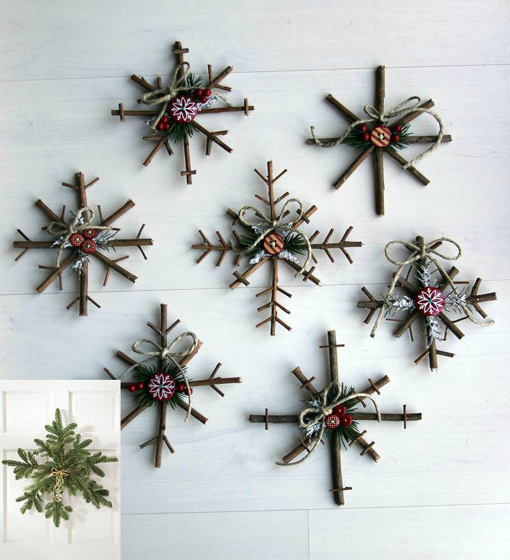 Снежинки из еловых и прочих веток