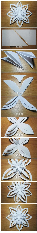 Объемная-3D снежинка, складываем из грамотным образом вырезанной бумаги