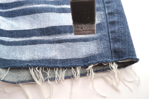 рисуем линии между полосками на ткани