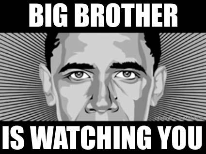 """Плакат """"Большой брат смотрит"""" с Бараком Обамой"""