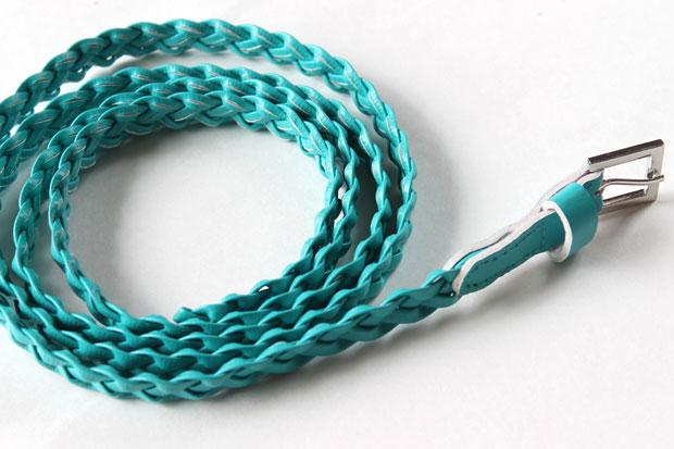 плетеный ремень бирюзового цвета