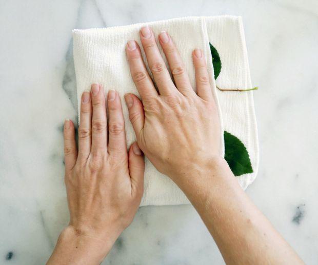 Выложите промытые листья на тонкое кухонное или бумажное полотенце и аккуратно прижмите сверху полотенцем же, чтобы высушить