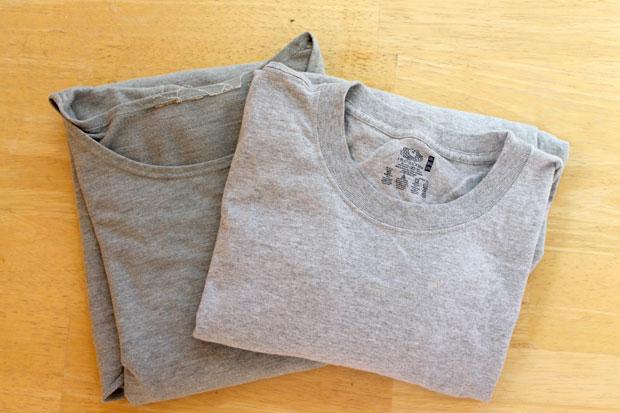выберите 2 футболки: одну хорошо сидящую сверху, вторую ненужную, но целую