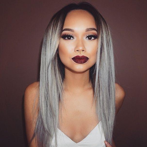 новый мировой тренд в окрашивании: «бабушкины» или седые волосы на стильно выпрямленных волосах
