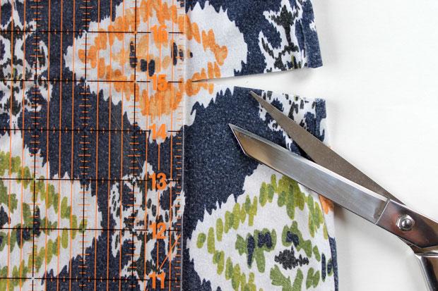 отрежьте широкую круговую полосу ткани по пометкам