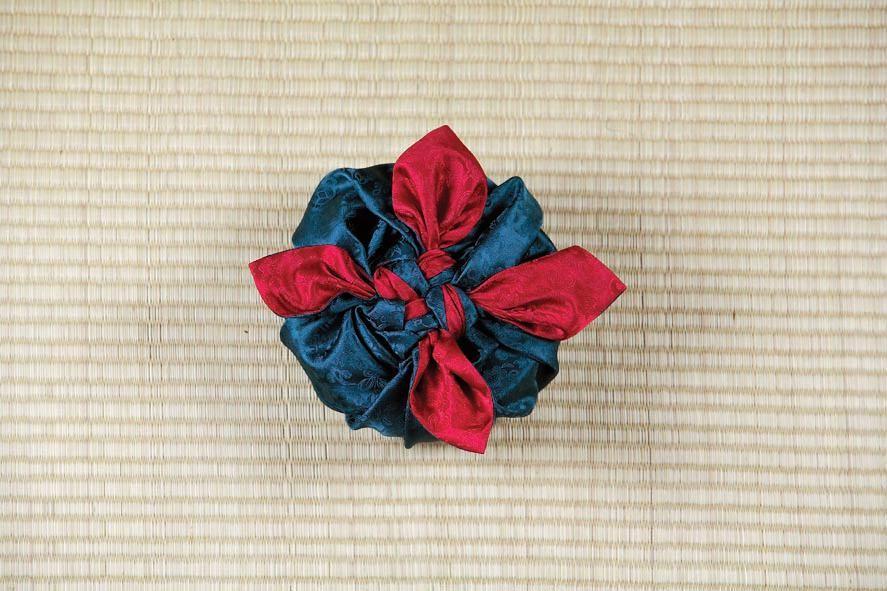 Опять хорошенько подтягиваем уголки, а сверху над подарком у нас в это время «распускается» цветок из ткани