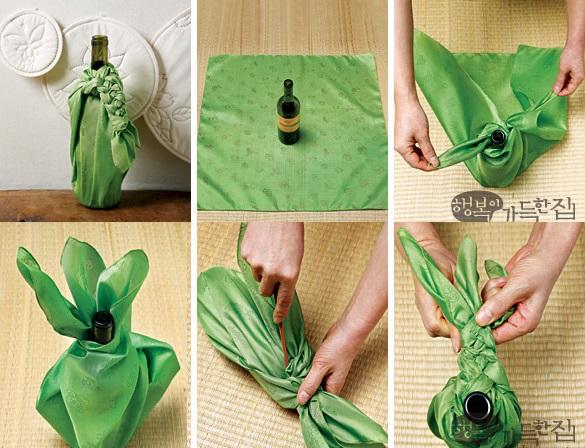 Упаковать в платок боджаги с косой одну бутылку вина