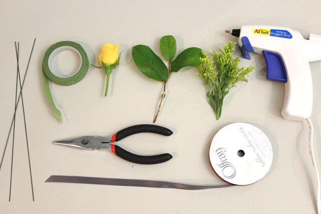 Исходные материалы и инструменты для создания бутоньерок своими руками