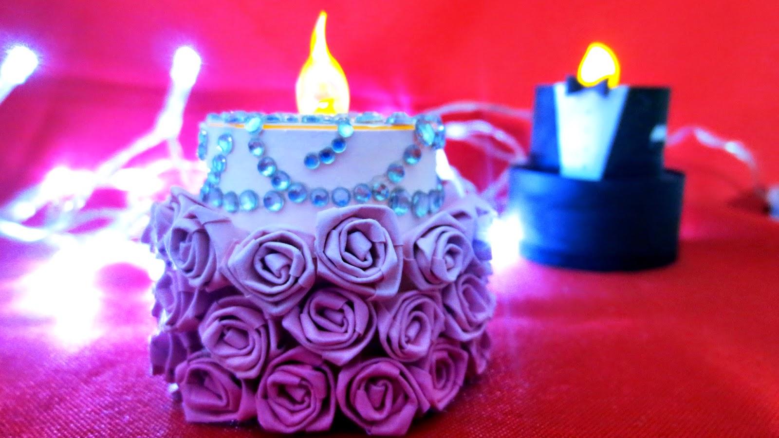 готовая мини-торт-«балерина» из искусственной свечи со стразами