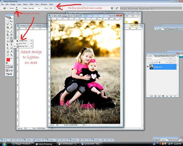 уроки фотошоп: делаем фотографию более яркой - возвращаемся к темному участку с деревьями и осветляем его посредством инструмента «Осветлитель» (Dodge)