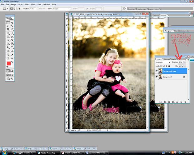 уроки фотошоп: делаем фотографию более яркой - прозрачность слоя 100%
