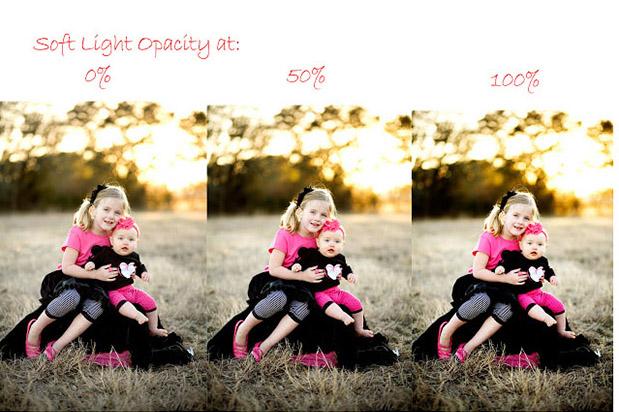 уроки фотошоп: делаем фотографию более яркой - сравнение уровней прозрачности слоя