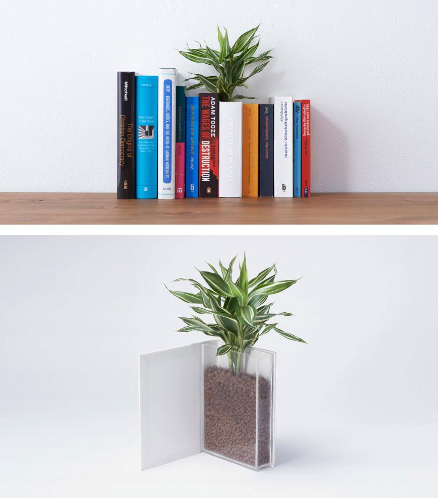 Цветочный горшок в виде книги – для полок. От арт-студии YOY Idea.