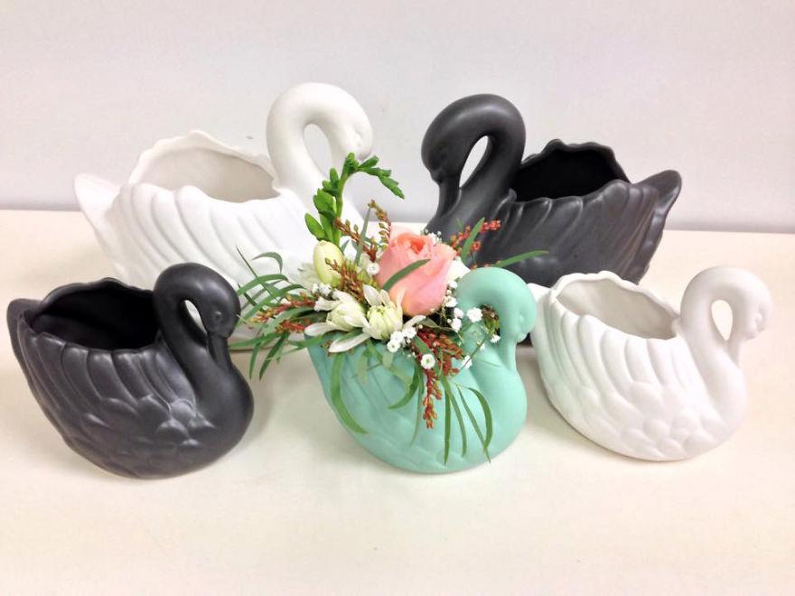 Цветочные кашпо/вазы-лебеди