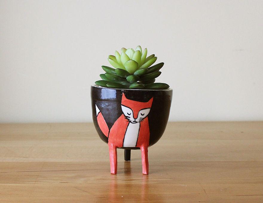 Лиса-цветочный горшок. Компания Beardbangs Ceramics.