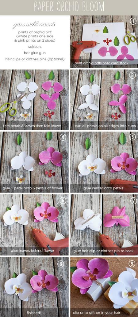 цветы (для подарочной упаковки или картин) из бумаги: орхидея, пошаговая инструкция в картинках
