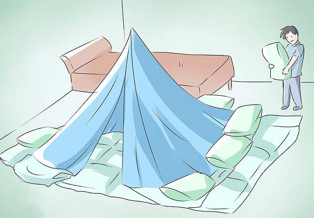 постройте из диванных (и прочих) подушек и пледов форт (палатку, гнездо)