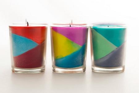 Как сделать свечи в стакане с диагональным рисунком