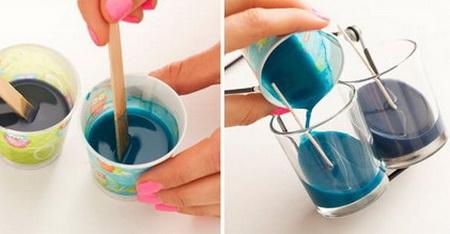 Как сделать свечи в стакане с диагональным рисунком?
