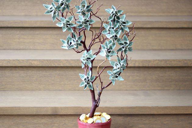 Как сделать красивое денежное дерево: дарим деньги элегантно
