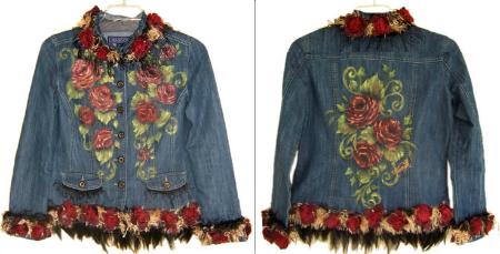 бахрома и крупыне цветочные изображения в декорировании джинсы