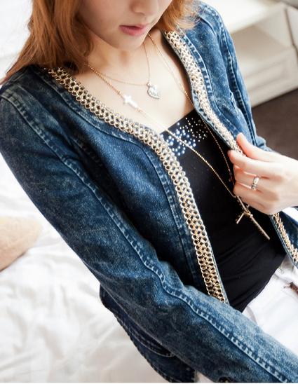 отделка по периметру спереди в украшении джинсовых курток и жилетов, тонкая полоса