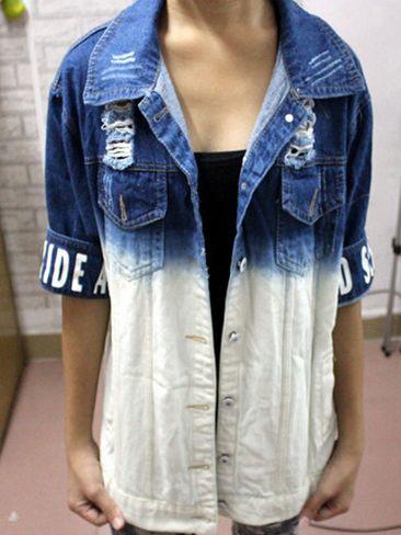 омбре в декорировании джинсовых рубашек, курток и жилетов