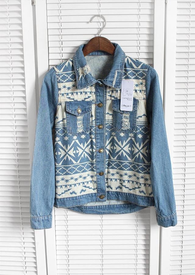 Индейские, скандинаские и чукотские мотивы в декорировании джинсовых рубашек, курток и жилетов