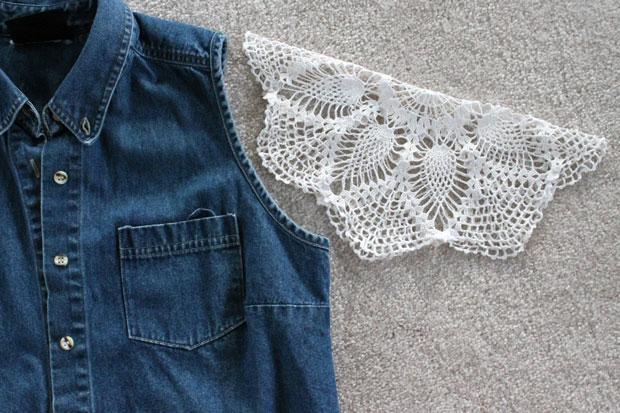 кружевные рукава для джинсового жилета из бабушкиных вязаных салфеток