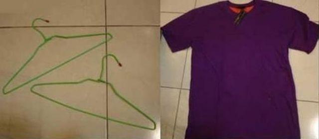 футболка и проволочные вешалки для домика для кошки своими руками