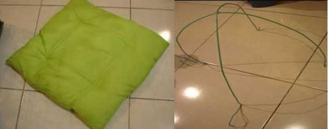 подушка и арка из жесткой проволоки для домика для кошки своими руками
