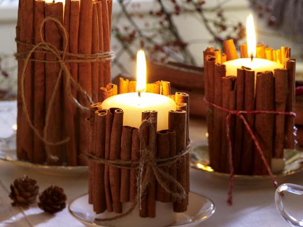 """""""голая"""" свеча с коричными палочками"""