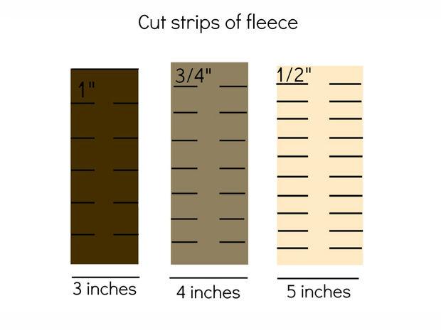 Теперь необходимо нарезать много полосок из ткани 3-х цветов