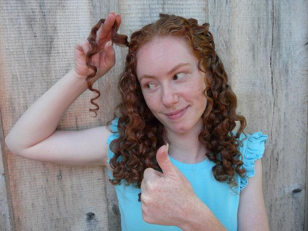 мягкие волны-локоны после использования самодельного льняного кондиционера-фиксатора для волос