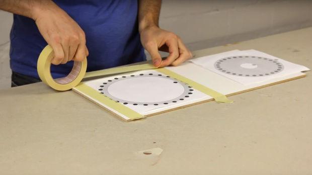 Открываем на компьютере, распечатываем нужные, наклеиваем распечатки на лист фанеры или ДВП прозрачным скотчем